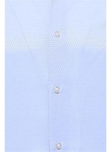 Wessi Kendinden Desenli Uzun Kollu Slim Fit Gömlek Mavi